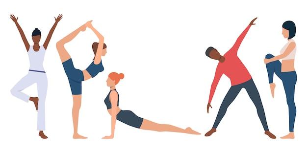 Набор фитнес-инструктора практикующих йогу Бесплатные векторы