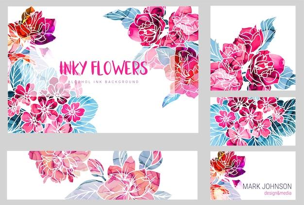 アルコールインクの質感、手描き水彩イラストと抽象的な春の花の5枚のカードのセット