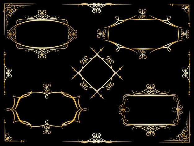 ドキュメントや原稿で使用するためのコーナーヘッダーとフッター要素を持つ5つの異なる白いベクトル装飾華やかなフレームのセット
