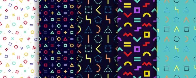 5つの幾何学的テクスチャのセット。抽象的なシームレスなパターン。