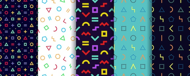 5つのメンフィスシームレスパターンのセット。幾何学的形状のテクスチャ。 。包装紙 。