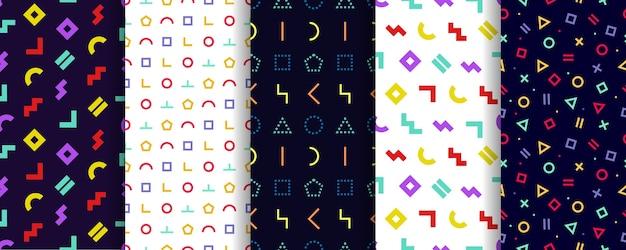 5つのメンフィスシームレスパターンのセット。包装紙 。幾何学的なテクスチャ。抽象的なカバー。