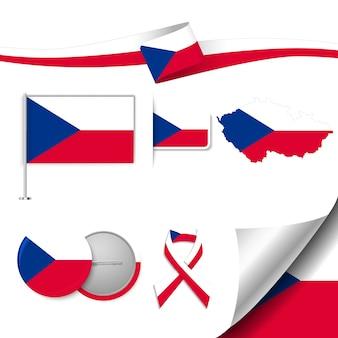 Набор элементов флага с чешской республикой