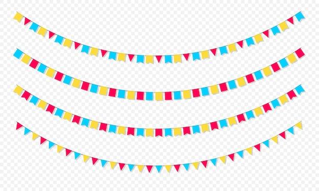 플래그 화환 세트입니다. 플래그와 함께 카니발 화환입니다. 생일 축하, 축제 및 공정한 장식을 위한 장식용 화려한 파티 페넌트. 매달려 플래그와 함께 휴일 배경입니다.
