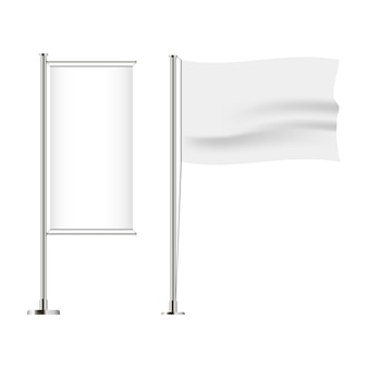 フラグのセット。水平および垂直、波状およびバナーフラグ。リアルなモックアップ。ベクトルイラスト。
