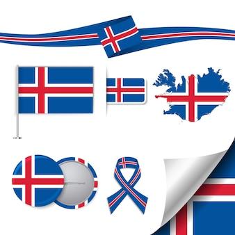 要素アイスランドと旗のセット