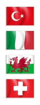 トルコ、イタリア、ウェールズ、スイスの国旗のセット ビジネス旅行の国際関係のコンセプト