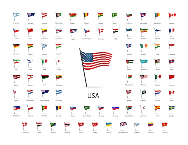 Набор флагов на шесте с тенью