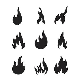 炎のアイコンのセットベクトルイラスト