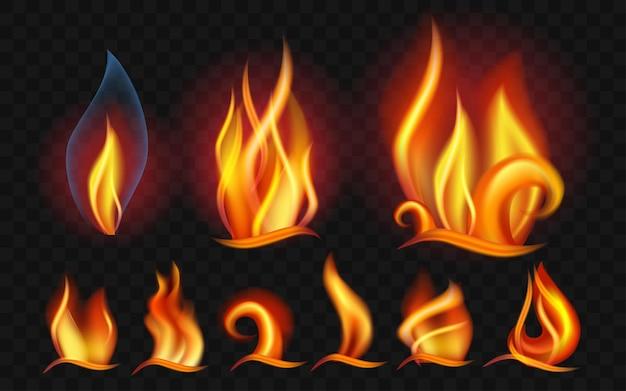 Набор пламени - современные векторные реалистичные изолированные картинки на прозрачном фоне. горят большие, маленькие оранжевые, желтые, красные огни разной формы и формы. понятие энергии, опасности, силы