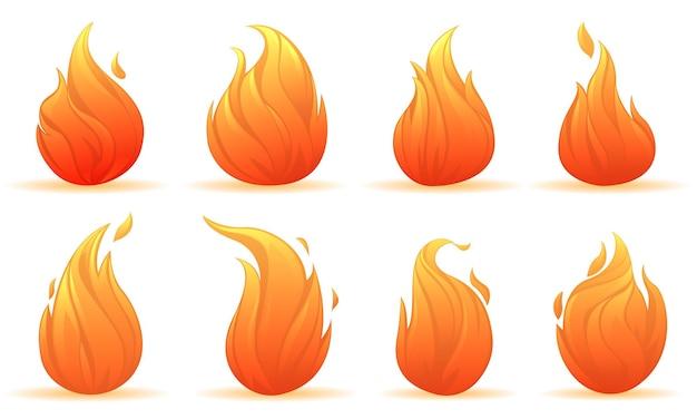 다양한 모양의 빛나는 모닥불의 불꽃 세트
