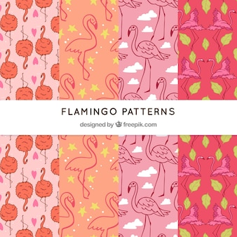 Set of flamingos patterns in hand drawn style
