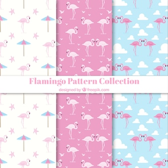 Set of flamingos patterns with beach elements