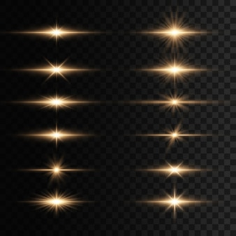 フラッシュ、ライト、スパークルのセット。明るい金色の閃光とまぶしさ。金色の光が孤立した明るい光線。輝く線。