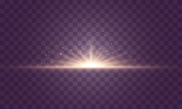 フラッシュ、ライト、スパークルのセット。明るい金色の閃光とまぶしさ。