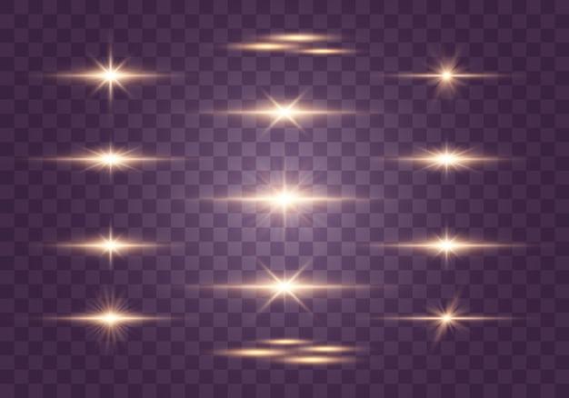 フラッシュ、ライト、スパークルのセット。明るい光線。