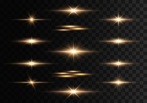 透明な背景に点滅、ライト、輝きのセット。明るい金が光り輝きます。抽象的な黄金色のライトが分離されました。明るい光線。輝くライン。イラストeps 10。
