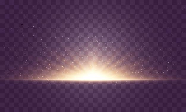 투명 한 배경에서 섬광, 조명 및 반짝임의 집합입니다. 밝은 금빛 번쩍임. 고립 된 추상적 인 황금 빛 밝은 광선. 빛나는 라인. 삽화.