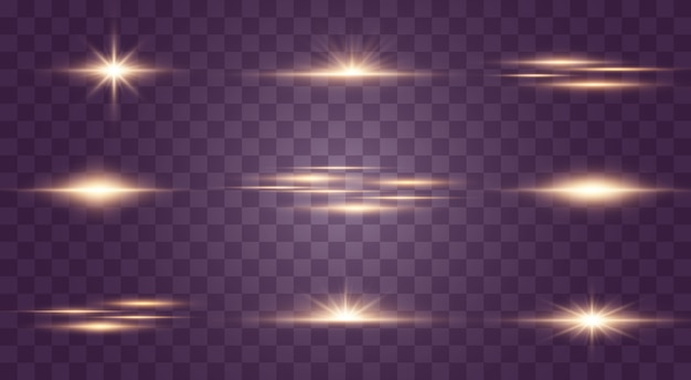 Набор вспышек, огней и блесток на прозрачном фоне. яркие золотые вспышки и блики. абстрактные золотые изолированные огни яркие лучи света. светящиеся линии.