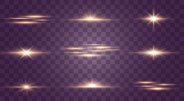 透明な背景に点滅、ライト、輝きのセット。明るい光線。輝くライン。