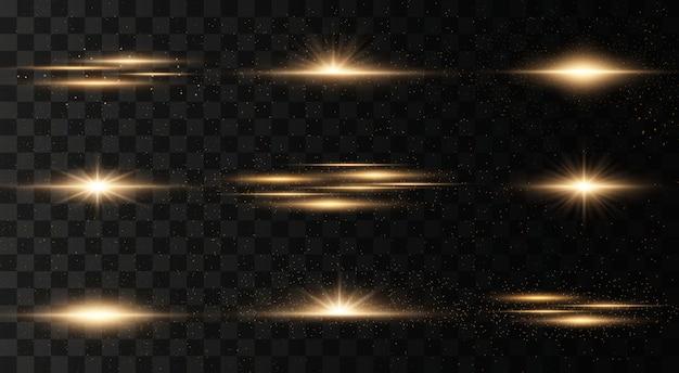 点滅、透明な背景のライトのセット。明るい金が光り輝きます。分離された抽象的な黄金色のライト。明るい光線。