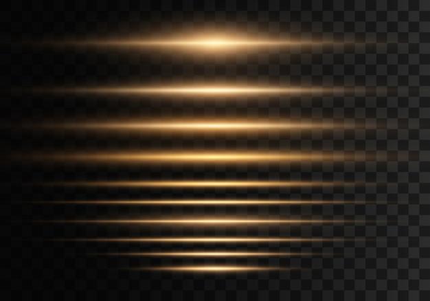 透明な背景に点滅、ライト、輝きのセット。明るいゴールドのまぶしさ。分離された抽象的な黄金色のライト。黄色の水平レンズフレアパック。レーザー光線、水平光線、線。