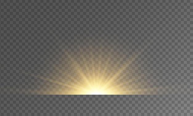 フラッシュのセットが輝きます明るいゴールドのフラッシュとグレアゴールデンの明るい光線光るライン