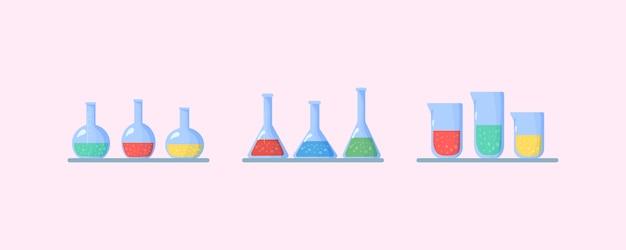 Набор колб. химическая лаборатория биологии науки и техники. колбы с химическими жидкостями. биология науки образования исследование вируса, молекулы, атома, днк через микроскоп, лупу, телескоп.
