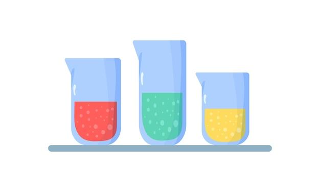 フラスコのセット。化学液体の入ったフラスコ