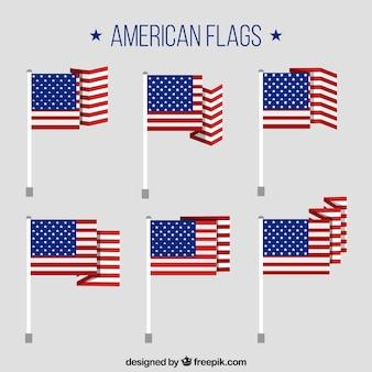 편평한 미국 국기의 세트