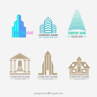 평평하고 현대적인 부동산 로고 세트
