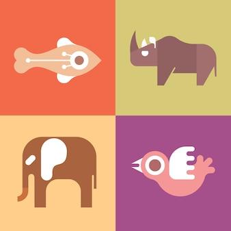 平らな動物のセット:魚、鳥、象、サイ