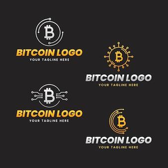 평면 bitcoin 로고 템플릿 집합