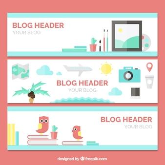 Набор плоских элементов блог баннеров
