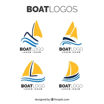 Набор логотипов с плоской лодкой с оранжевыми парусами