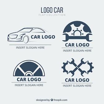 Set of flat car logos