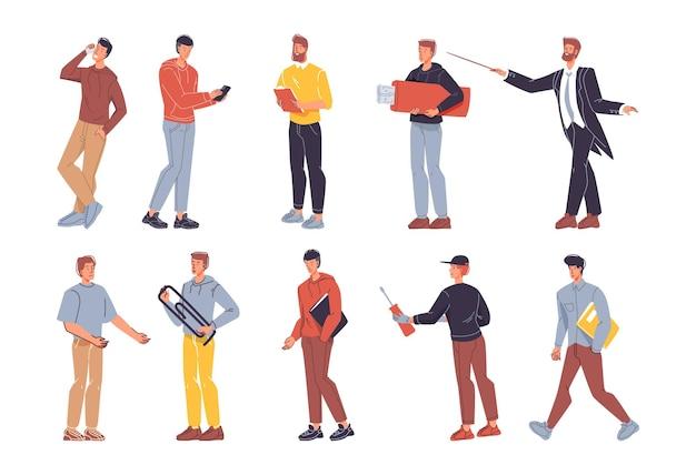 Набор плоских героев мультфильмов разных профессий в разных позах