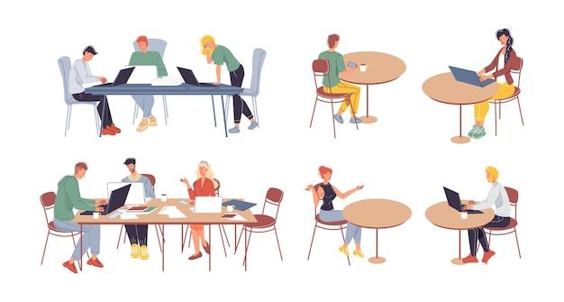 Набор плоских мультипликационных персонажей иллюстрации офисных работников