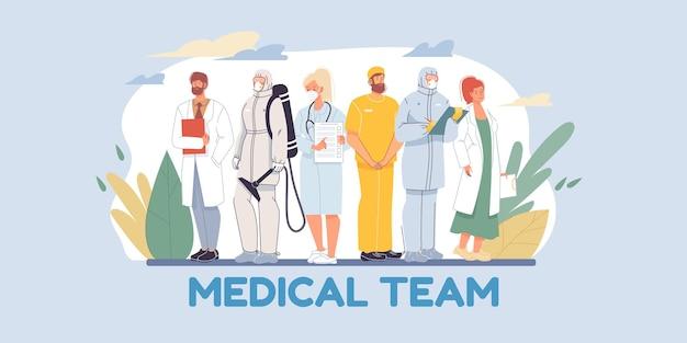 Набор плоских героев мультфильмов доктор и медсестер в униформе