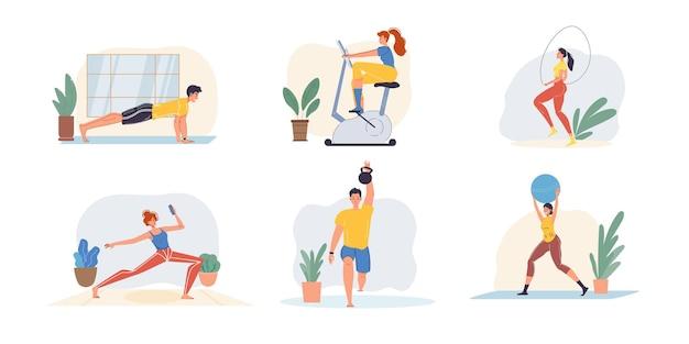 屋内スポーツ活動を行うフラット漫画家族キャラクターのセット