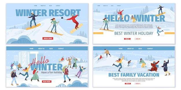 冬の屋外スポーツ活動を行うフラット漫画家族キャラクターのセット
