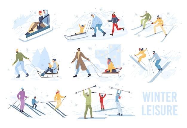冬のアウトドアスポーツ活動を行うフラット漫画家族キャラクターのセット