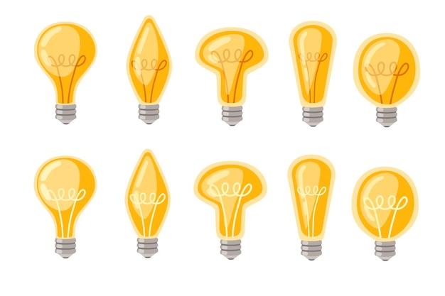평면 만화 백열 램프 노란색 복고풍 전구 벡터 일러스트 레이 션의 집합