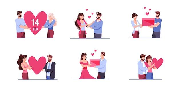 一緒に質の高い時間を楽しんでいる恋人たちのフラット漫画スタイルのセット