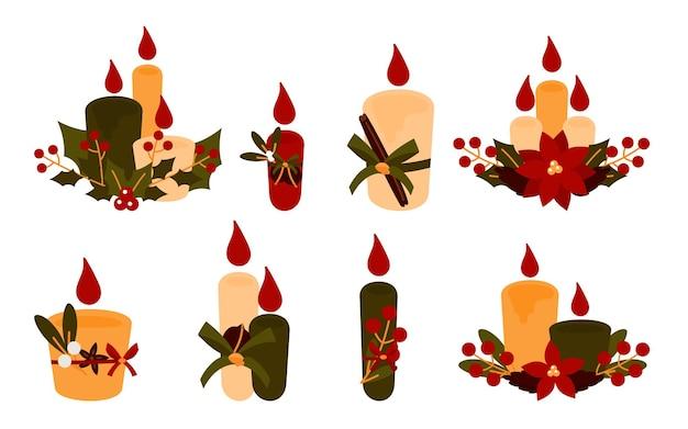 Набор плоских рождественских свечей с пуансеттией, шишками, омелой.