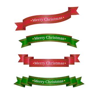 フラットクリスマスリボンのセット
