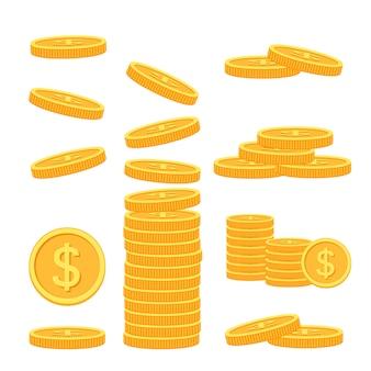 カラフルな背景の平らなコインのセット