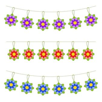 꽃의 평면 색된 고립 된 garlands의 집합입니다.
