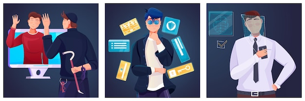 保護された個人情報のイラストとフラット構成のセット