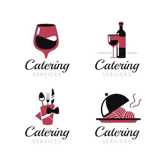 フラットなデザインのケータリングのロゴのセット
